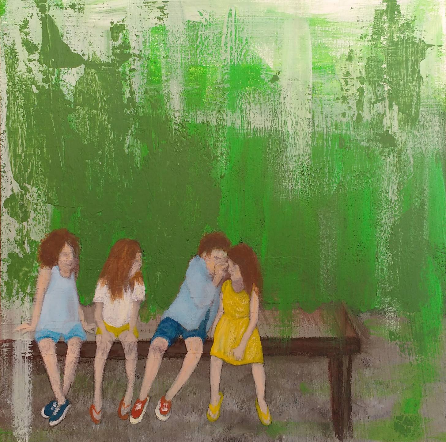 summertime - kids on a bench